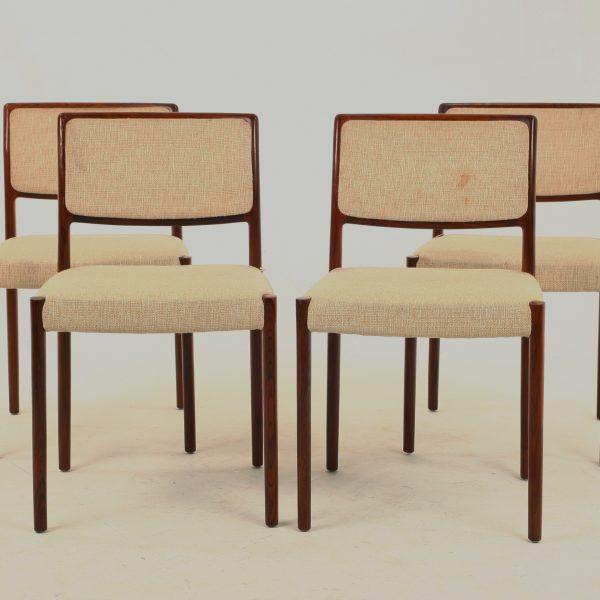 Vintage Set Of 4 Brazilian Rosewood Chairs By N.O. Moller Model 80 U2013 Danish  U2013 Retro
