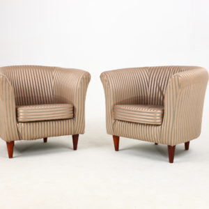 Pair of Tub Chairs - Solid Beech Legs - 1970's/1980's